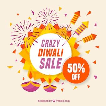 Fundo de venda Diwali em design plano
