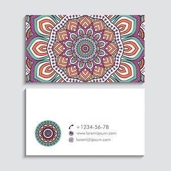 Fundo de vetor de cartão de visita em estilo étnico