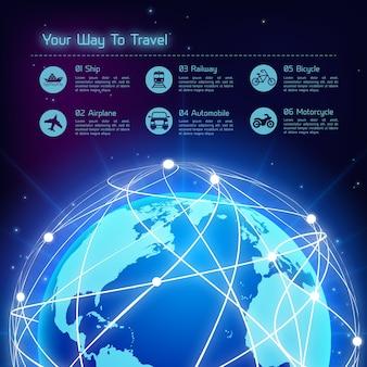 Fundo de viagem da rede