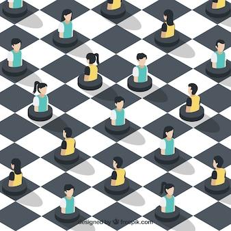 Fundo de xadrez com pessoas em estilo isométrico