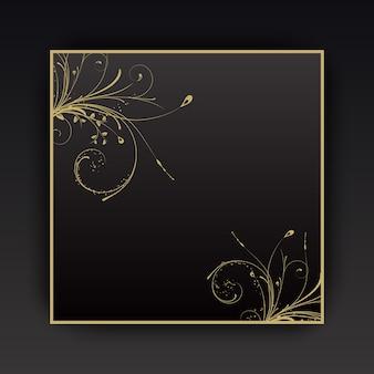 Fundo decorativo com elementos florais com borda dourada