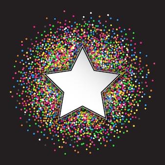 Fundo decorativo com estrelas e confetes circulares