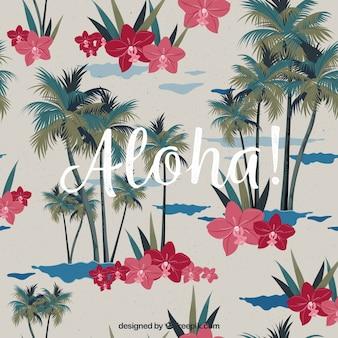 Fundo decorativo com palmeiras e flores de aguarela tropical