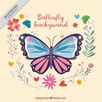 Fundo decorativo de borboletas e flores