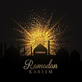 Fundo decorativo de Ramadan com explosão do brilho do ouro