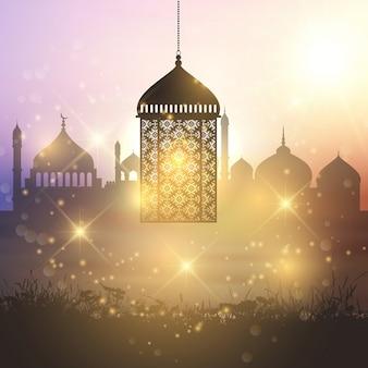 Fundo decorativo lanterna Ramadan