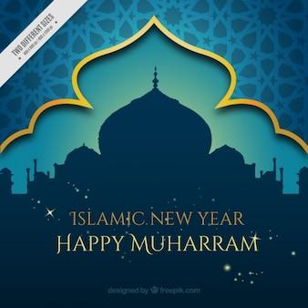 Fundo decorativo Muharram com mesquita