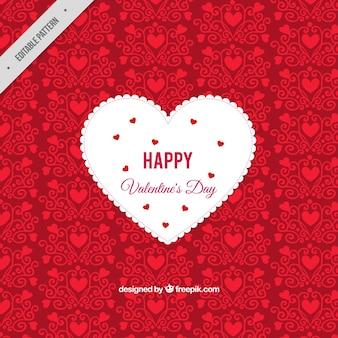 Fundo decorativo vermelho com coração branco
