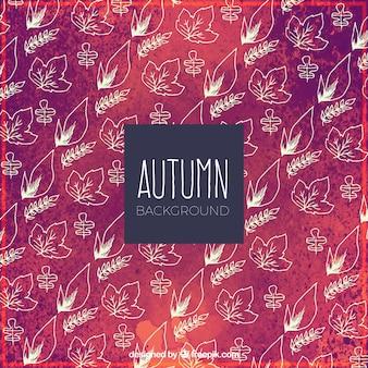 Fundo desenhado à mão do outono com padrão elegante