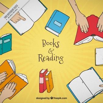 Fundo desenhado mão de livros coloridos