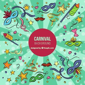 Fundo desenhado mão do carnaval