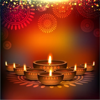 Fundo desfocado com velas para Diwali