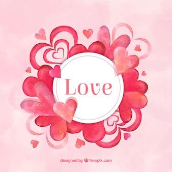 Fundo do amor da aguarela com corações