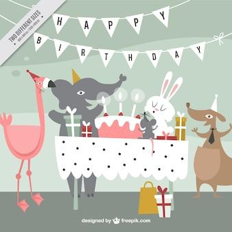 Fundo do aniversário com animais felizes