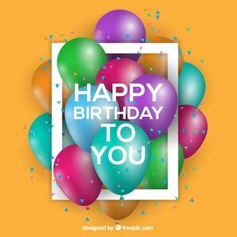 Fundo do aniversário com balões coloridos