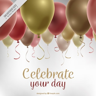 Fundo do aniversário com balões decorativos em estilo realista