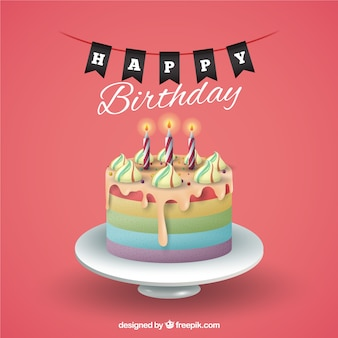 Fundo do aniversário com bolo