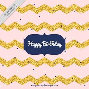 Fundo do aniversário com linhas em ziguezague de ouro