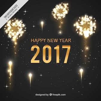Fundo do ano novo com fogos de artifício brilhantes escuro