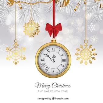 Fundo do ano novo com um relógio de ouro