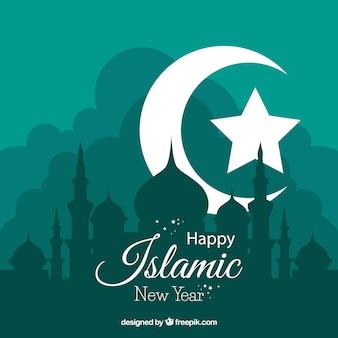 Fundo do ano novo de Islamick com lua e estrela