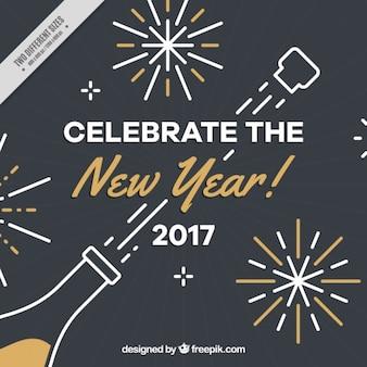 Fundo do ano novo escuro com garrafa de champanhe e detalhes dourados