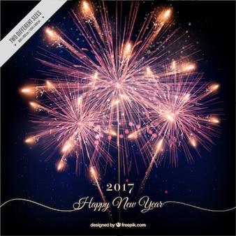 Fundo do ano novo feliz com fogos de artifício brilhantes