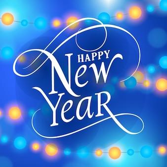 Fundo do ano novo feliz com luzes redondas
