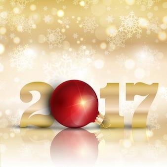 Fundo do ano novo feliz decorativa com bauble