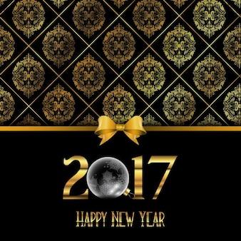 Fundo do ano novo feliz decorativo com teste padrão do estilo do damasco de ouro