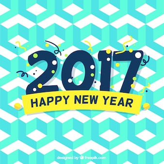 Fundo do ano novo geométricos em tons de azul