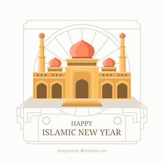 Fundo do ano novo islâmico com mesquita no design plano