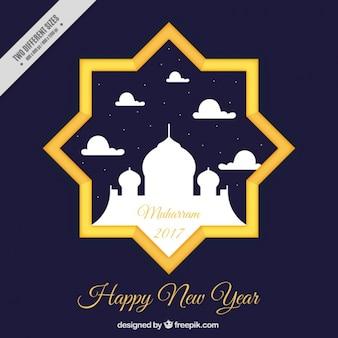 Fundo do ano novo islâmico da estrela com mesquita