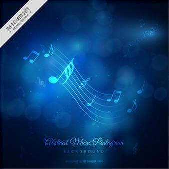 Fundo do bokeh de música em tons de azul