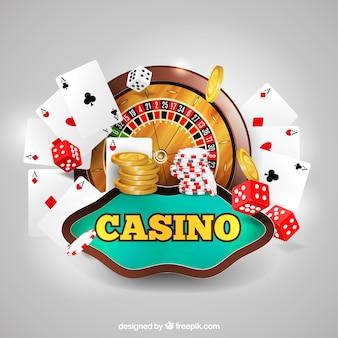 Fundo do casino com cartões e dados