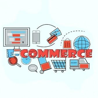 Fundo do comércio electrónico com detalhes azuis e vermelhas