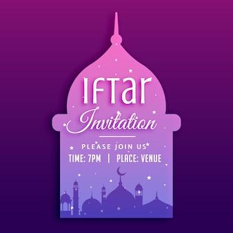 Fundo do convite do partido do iftar com silhueta da mesquita