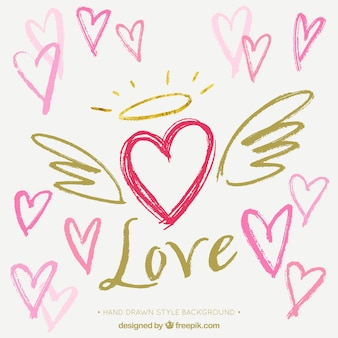 Fundo do coração desenhado mão com asas