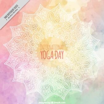 Fundo do dia aquarela yoga decorativo com mão desenhada mandala