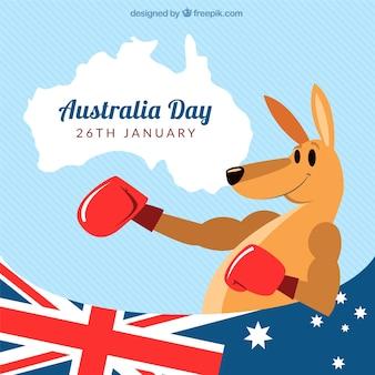 Fundo do dia Austrália do canguru com luvas de boxe