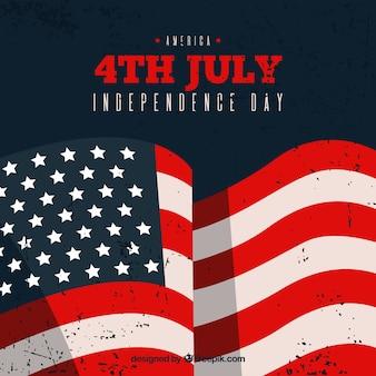 Fundo do Dia da Independência com bandeira ondulada no estilo vintage