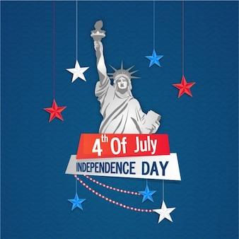 Fundo do dia da Independência com estrelas de suspensão e da estátua da liberdade