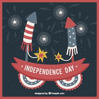 Fundo do Dia da Independência com fogos de artifício