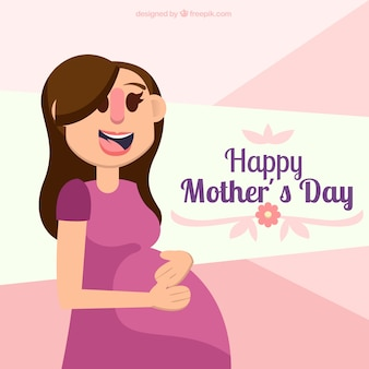 Fundo do dia da mãe com a mulher gravida feliz