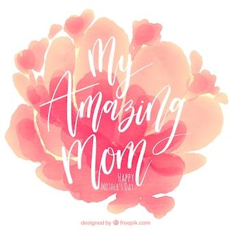 Fundo do dia da mãe com manchas da aguarela em tons de rosa
