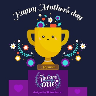 Fundo do dia da mãe com troféu e decorativos flores