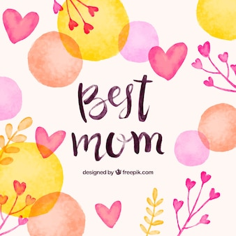 Fundo do dia das mães com elementos da aguarela