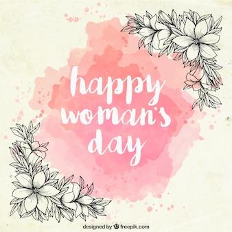 Fundo do dia das mulheres da aguarela com as flores desenhadas mão