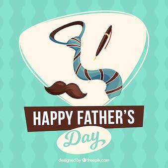 Fundo do dia de pai com gravata, pena e bigode