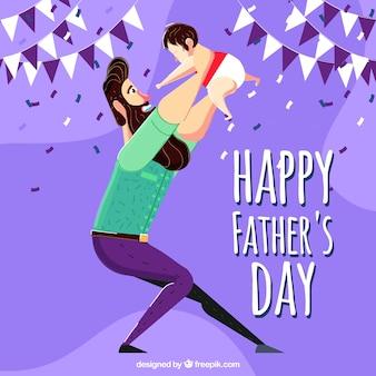 Fundo do dia de pai com seu filho encantador